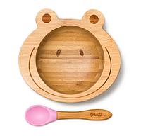 Детская тарелка на присоске с ложкой Бабака 250 мл Розовая F021503, КОД: 147078