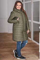 Пальто зимнее стеганное на синтепоне и овчине