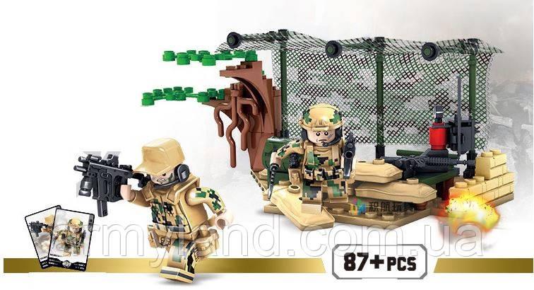 Конструктор военный набор 1, Фигурка  АВТОМАТЧИКИ В ЗАСАДЕ, конструктор  (Аналог ЛЕГО), фото 2