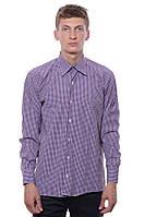 Стильная и модная рубашка для парней в клетку с накладным карманом. Цвет фиолетовый. Бренд DECK.