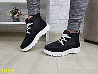 Дутики ботинки зимние на густом меху черные, фото 1