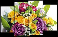 Модульная картина Interno Эко кожа Букет из розы  114х69см (A1325М)