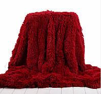 Пушистый плед-покрывало Leopollo 150х200 см Красный 0703, КОД: 1198452