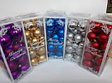 Новогодние украшения  игрушки на елку Шары синие 32 игрушки ассорти, фото 2