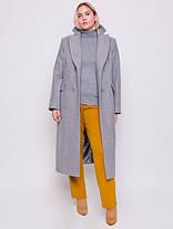 Светло-серое длинное двубортное шерстяное пальто размеры 52,54,56,58,60, фото 2