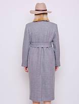 Светло-серое длинное двубортное шерстяное пальто размеры 52,54,56,58,60, фото 3