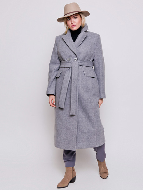 Светло-серое длинное двубортное шерстяное пальто размеры 52,54,56,58,60