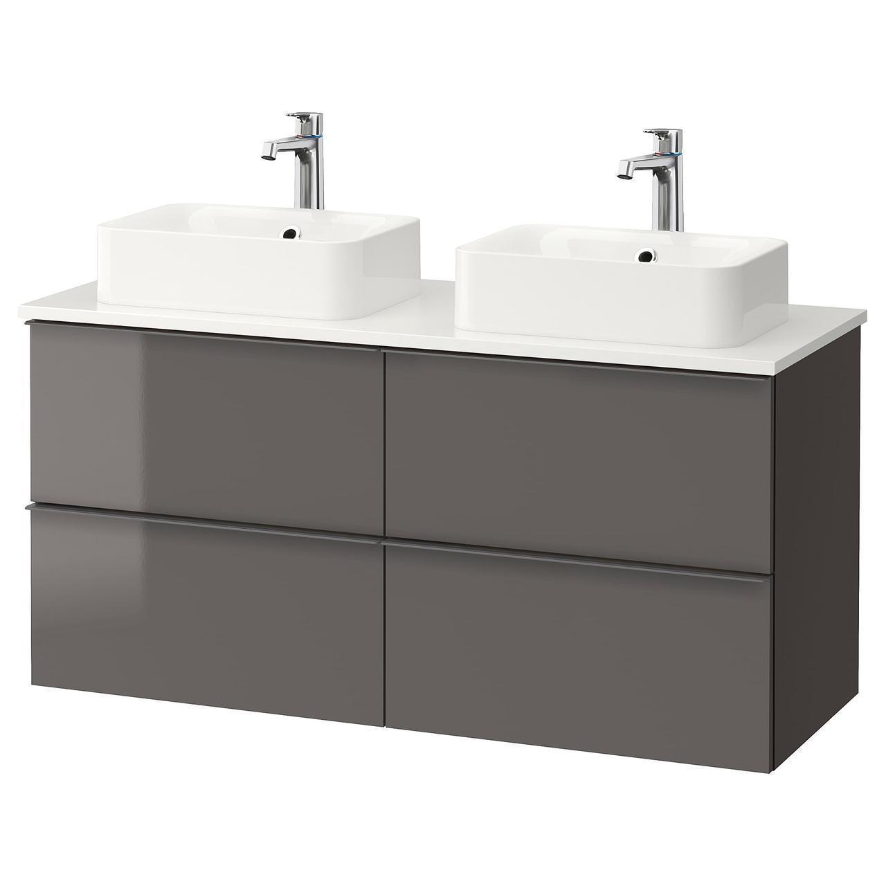 IKEA GODMORGON/TOLKEN/HORVIK Шкаф под умывальник с раковиной 45x32, глянцевый серый, белый  (292.088.58)