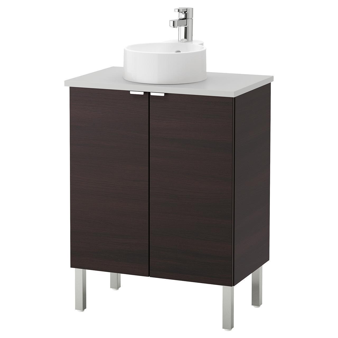 IKEA LILLANGEN/VISKAN/GUTVIKEN Шкаф под умывальник с раковиной, черно-коричневый, (991.885.31)