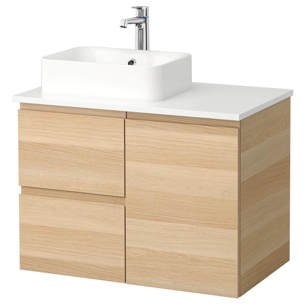 IKEA GODMORGON/TOLKEN/HORVIK Шкаф под умывальник с раковиной 45x32, белый окрашенный дубовый шпон, (492.082.92)