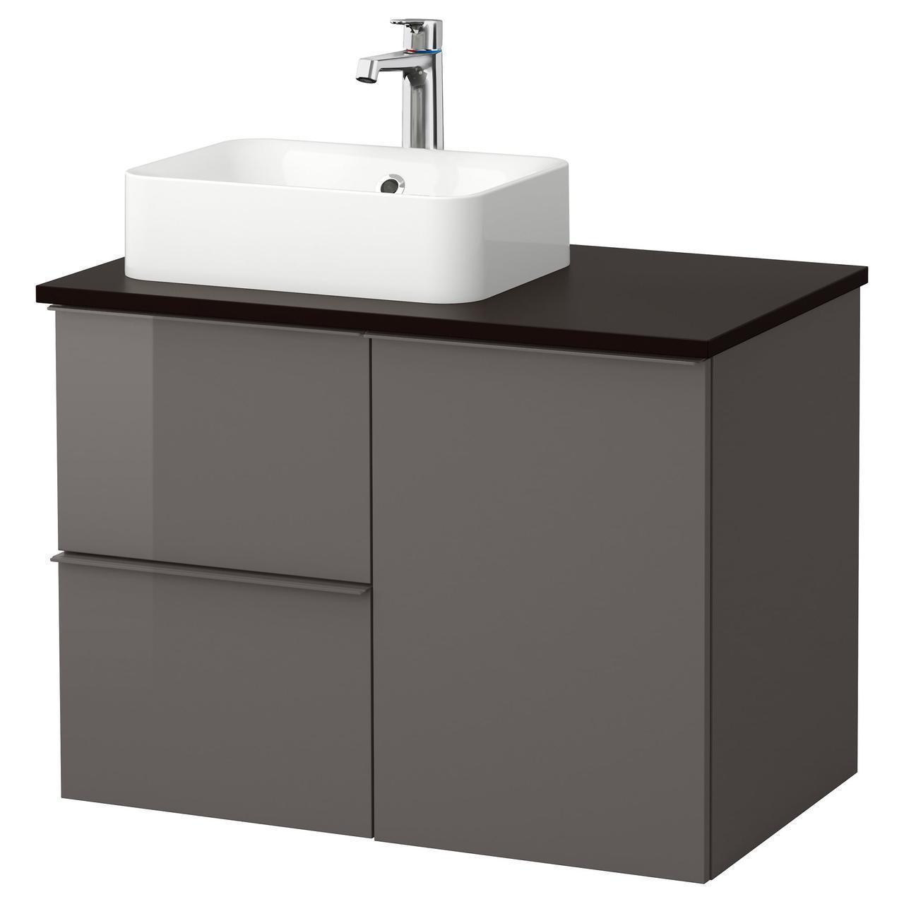 IKEA GODMORGON/TOLKEN/HORVIK Шкаф под умывальник с раковиной 45x32, глянцевый серый, антрацит  (492.080.13)