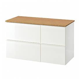 IKEA GODMORGON/TOLKEN Шафа під умивальник зі стільницею з 4 ящиками, глянцевий білий, бамбук (592.953.21)