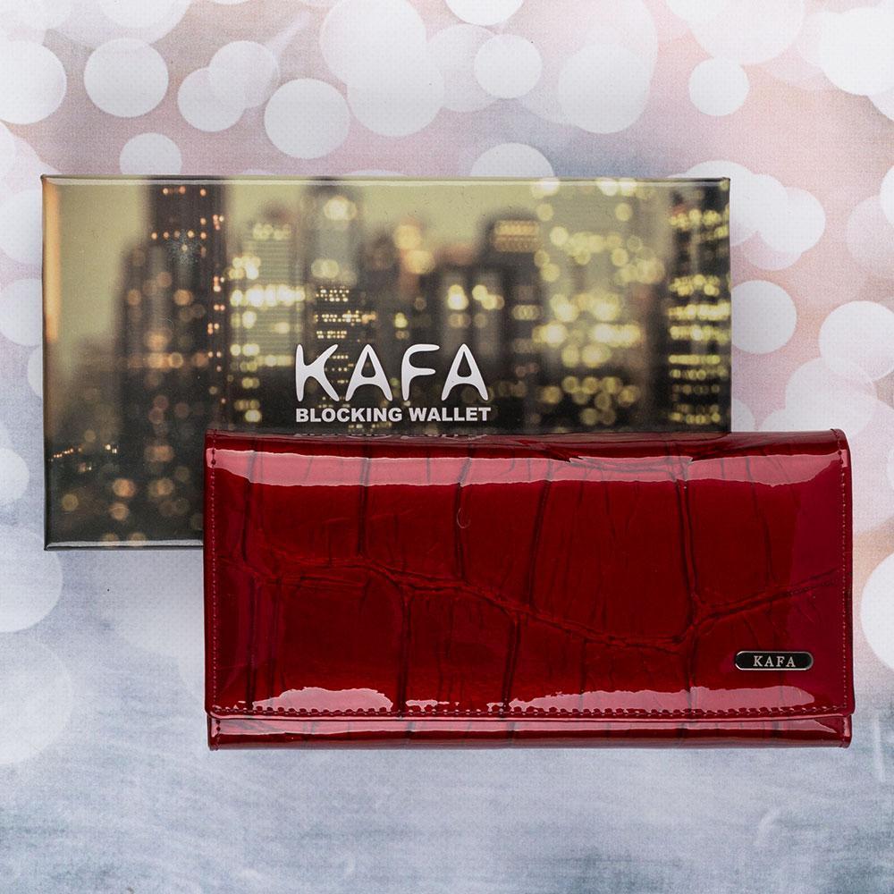Кошелек женский кожаный на магните Kafa с RFID защитой (BE501 red)