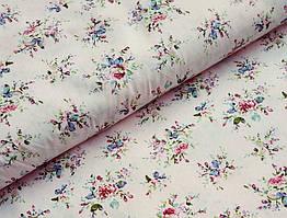 Сатин-твил Мелкие цветочки на нежно-розовом