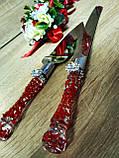 Нож и лопатка для свадебного торта Brooch . Цвет красный., фото 2