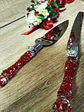 Нож и лопатка для свадебного торта Brooch . Цвет красный., фото 3