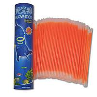 Неоновые браслеты светящиеся SoFun glow stick оранжевые 100 штук, фото 1