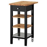 IKEA STENSTORP Столик на колесах, черно-коричневый, дуб  (202.198.37)