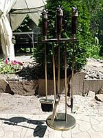 """Набір для каміна ручної роботи """"Полювання"""", дубові рукояті зі вставками з кленового капа"""