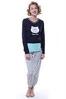 Пижама  100% хлопок тёмно-синий Fawn все размеры  L