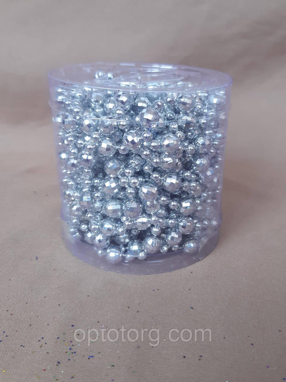 Украшения на елку бусы серебро