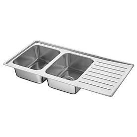 IKEA VATTUDALEN Двойная мойка с сушилкой, нержавеющая сталь  (091.581.90)