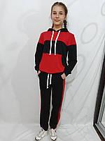 Детский спортивный костюм для девочки чёрный/красный