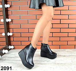 Зимние ботинки кожаные на платформе, черный