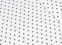 Сатин-твил Крючки черные на белом