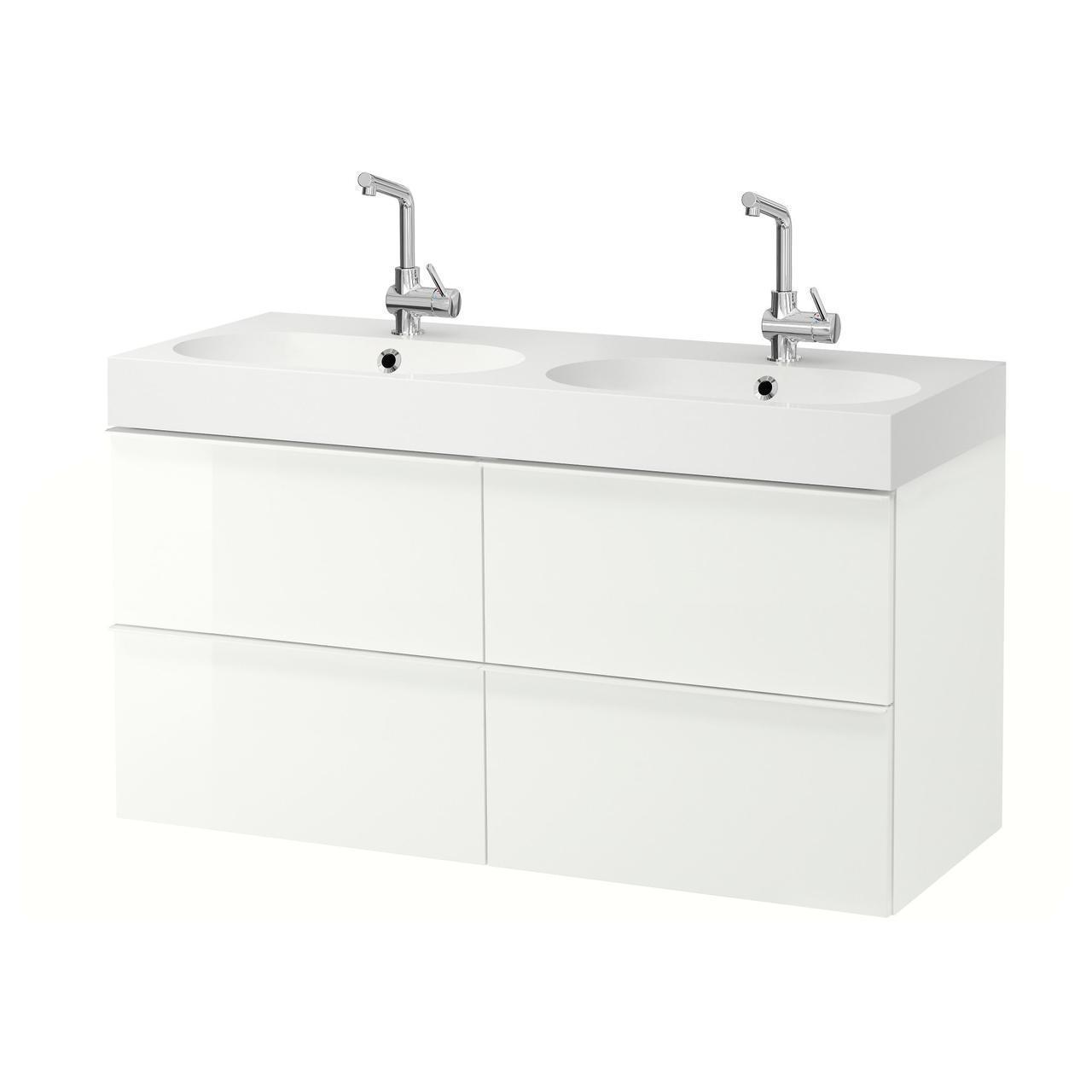 IKEA GODMORGON/BRAVIKEN Шкаф под умывальник с раковиной с 4 ящиками, глянцевый белый  (191.854.28)