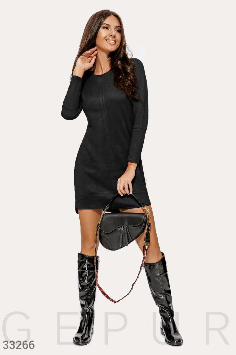 Замшевое платье до колен черное