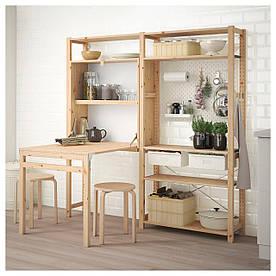 IKEA IVAR Стеллаж с раскладным столом, сосна, белый  (392.506.82)
