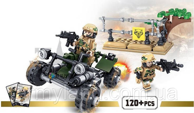 Конструктор военный набор 4, СОЛДАТ НА КВАДРОЦИКЛЕ , конструктор  (Аналог ЛЕГО), фото 2
