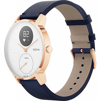 Смарт-часы WITHINGS Steel HR Watch 36mm Blue/Gold with Leather Blue & Blue Silic (HWA03b-36blue-RG-L.Blue)