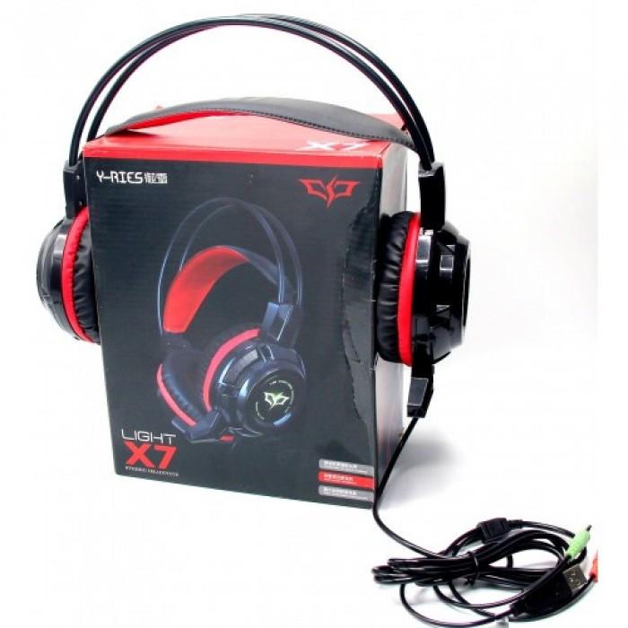 Игровые проводные наушники MISDE Light X7 с микрофоном Чёрные с Красным