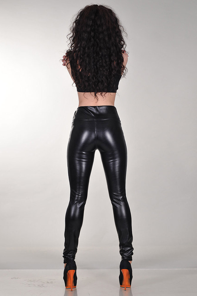 Джеггинсы кожаные утяжка черные на меху 40 зима