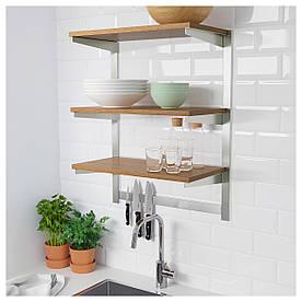 IKEA KUNGSFORS Полиці з магнітною планкою, нержавіюча сталь, ясен (392.543.26)