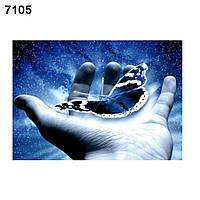 Картина алмазная мозаика Бабочка в руке 25*35 см на подрамнике готовая