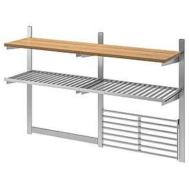 IKEA KUNGSFORS Полки с решеткой и магнитной планкой (392.848.80)