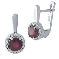 Серебряные серьги Silver Breeze с натуральным рубином 1972755, КОД: 1194847