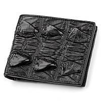 Портмоне CROCODILE LEATHER из натуральной кожи крокодила Черное 18005, КОД: 1150495