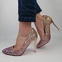 Женские блестящие туфли с розовыми и золотыми блестками, на высоком золотом каблуке 36 (23,7 см)