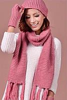 Набор женский шапка-шарф-перчатки: розовый