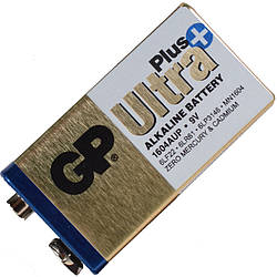 Батарейка щелочная, Alkaline КРОНА Ultra + (6LF22, 6LR61, 6LP3146, MN1604) GP 9V