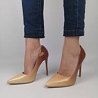 Женские лакированные туфли на каблуке, бежевые с коричневым 36 (23,8 см)