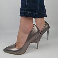 Женские лакированные туфли на каблуке, цвет метал 36 (24 см)