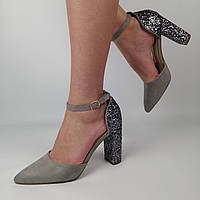 Женские замшевые туфли на каблуке с блестками, серые 40 (26 см)