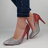 Женские блестящие туфли на каблуке с красными и серебристыми блестками 36 (23,8 см)