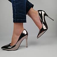 Женские лакированные туфли на каблуке, зеркальный метал 36 (23,5 см)