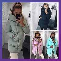 Женская зимняя удлинённая куртка зефирка синтепон олива, черный, мята, розовый бордо серый,беж хаки 42 44 46